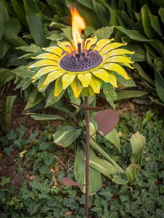 Desert Steel Sunflower Garden Torch #affiliate #sunflower #gardentorch
