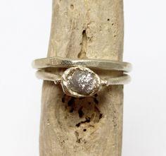 Tamara Gomez - Rough diamond ring and matching wedding band, 9ct white gold. #roughdiamonds
