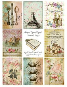 CLASSIC No. 7 Antique Images Digital Collage Sheet - Digital Printable Crafts - Victorian 2.5 x 3.5 atc Antique Cakes