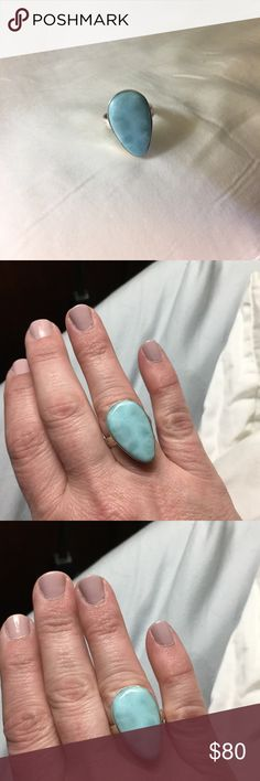Handmade Larimar Stone Ring 9.25 Silver and Larimar Size 8 Ring Jewelry Rings