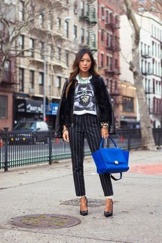 striped pants with casual chic top