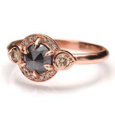 14k Rose Gold BL Diamond engagement ring    14k Rose Gold black rose cut diamond engagement ring    $2875