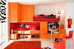 I don't like the red/orange, but love the furniture.