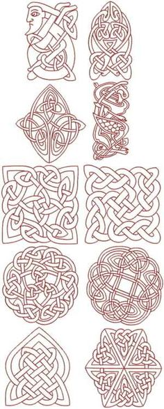 Advanced Embroidery Designs - Celtic Redwork Set.