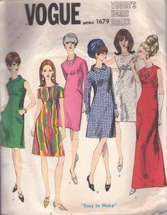 Vogue 1679 Vintage 60's Sewing Pattern FANCY Mod Basic Design Yoke Seam Interest Mod Mad Men Cocktail Party Dress, Elegant Maxi Red Carpet Evening Gown