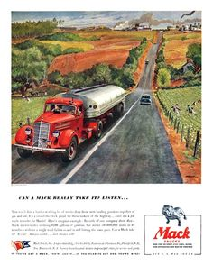 Mack Trucks Ad (October, 1943): Can a Mack really take it? Listen... - Illustrated by Peter Helck