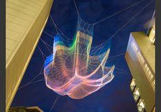"Janet Echelman's floating net sculpture ""impatient optimist"" at Bill and Melinda Gates Foundation in Seattle, WA"