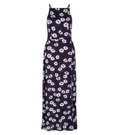 Blue Floral Print High Neck Split Front Maxi Dress