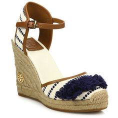 Tory Burch Shaw Striped Wedge Espadrilles ($100) ❤ liked on Polyvore featuring shoes, sandals, apparel & accessories, ankle tie wedge sandals, wedges shoes, espadrille wedge sandals, navy blue wedge shoes and espadrille sandals
