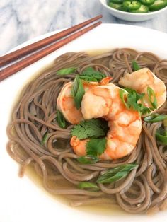 Shrimp and Soba Noodles in Gingered Broth - You'll love this FAST and EASY recipe! Perfect for the summer and fall!