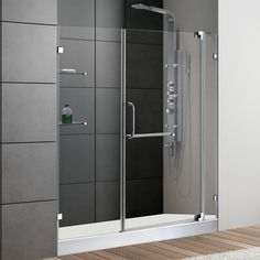This one might be the right base size.  Need to measure door angle for clearance. VIGO 60-inch Frameless Shower Door 0.375-inch Clear Glass With White Base