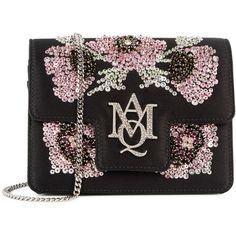 Alexander McQueen Black sequinned satin shoulder bag (2 195 410 LBP) ❤ liked on Polyvore featuring bags, handbags, shoulder bags, sequin shoulder bag, shoulder handbags, satin purse, magnetic purse and shoulder bag purse