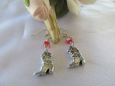 Red and Silver Cowgirl Boot Earrings by MoonwitchDesigns on Etsy, $6.00
