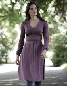Button Detail Jersey Dress - could dye this a bolder colour?  Deep purple?