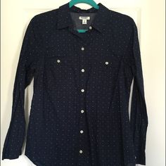 SALEDotted Button Down Shirt Navy shirt with multi turquoise dots. Great condition. 100% cotton. Old Navy Tops Button Down Shirts