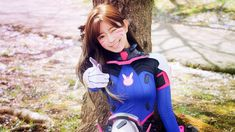 Awesome D.Va Wink Smile Cosplay Overwatch 1920x1080 wallpaper