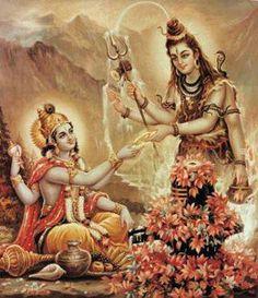 Meeting of Shiva with Vishnu. Shiva giving the Sudarshana Chakra to Vishnu. Lord Vishnu, Lord Ganesha, Lord Shiva, Ganesha Art, Krishna Art, Indian Gods, Indian Art, Shiva Wallpaper, Shiva Shakti
