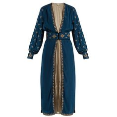 Talitha Cross-embroidered silk-crepe robe found on Polyvore featuring polyvore, women's fashion, clothing, intimates, robes, blue multi, embroidered robes, blue bathrobe, talitha and bath robes
