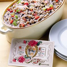 Hoppin' John Black Eyed Pea dish for New Years.  Black Eyed peas, ham, celery, onion, carrots, garlic, red pepper flakes.