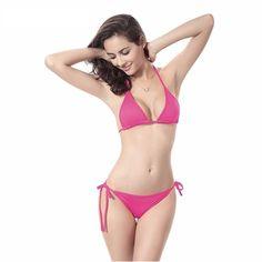 0231abf285f7f 11 Color Solid Polyester Bikinis Set 2016 Women Swimwear Fashion Female  Sexy Swimsuit Split Girl Bathing Suit One Size Beachwear
