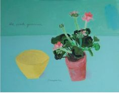 the pink geranium and the yellow bowl  by elaine pamphilon  mixed media on wooden panel  40 x 50 cm