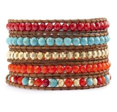 5X Beaded Wrap  Coral Turquoise Jade Gold Beads by SukiFashionista