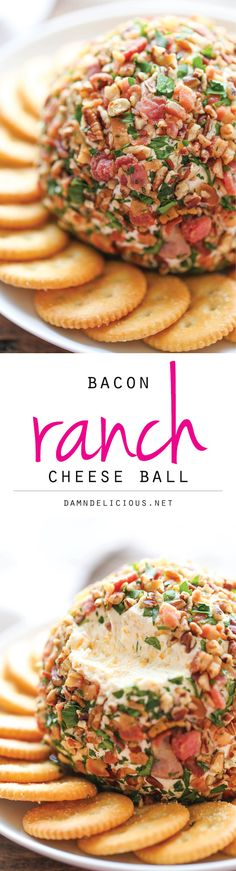 Bacon Ranch Cheese Ball - The best and easiest cheese ball that is sure to be a crowd-pleaser. You just can't go wrong with bacon and ranch together! Food Recipe Share and enjoy! Appetizers For Party, Appetizer Recipes, Party Snacks, Party Drinks, Tailgate Appetizers, Healthy Appetizers, Dinner Recipes, Cheese Ball Recipes, Potato Recipes