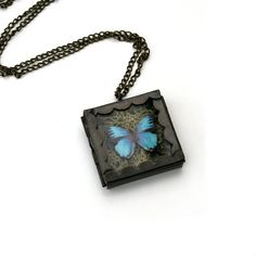 Blue Butterfly Necklace Butterfly Box Necklace by LaurasJewellery