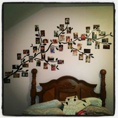 Picture tree!  **********************************************  craftynightowls.blogspot.com  #photo displays   #wall decor