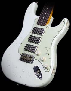 Fender Custom Shop 1960 Stratocaster Three-Humbucker NoNeck Relic Electric Guitar Olympic White | The Music Zoo