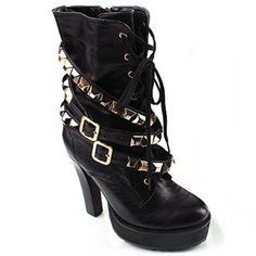 [SHEOSONE.BIZ] 1010  Triple Studded Buckle Lace-up Ankle Boots (12.5cm)