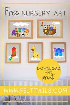 12 irresistibly cute, free printables for your nursery, playroom or kids bedroom. DIY your jungle themed nursery decor with these bright, colourful animals to download and print at home. Baby boy or baby girl? This artwork is an easy, low cost idea to brighten a gender neutral nursery wall. Create a gallery of elephant, lion, monkey, tiger, giraffe, hippo, parrot + more.  #FeltTails #printable #nurserydecor Frog Nursery, Zebra Nursery, Elephant Nursery, Nursery Neutral, Nursery Art, Giraffe, Jungle Nursery, Girl Nursery, Themed Nursery