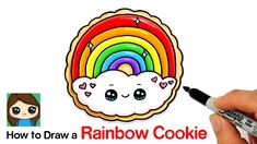 🥰 Learn How to Draw a sweet, cute Rainbow Cookie easy, step by step drawing lesson tutorial. 💕How to Draw. Cute Easy Drawings, Kawaii Drawings, Beautiful Drawings, Unicorn Art, Cute Unicorn, Draw So Cute Food, Cookie Drawing, Rainbow Cookie, Kawaii Cookies