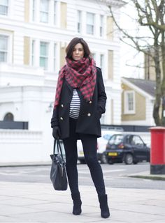 Hedvig Opshaug [The Northern Light] in a wool coat from Zara, JBrand maternity skinnies, Topshop top, Saint Laurent boots, H wool scarf and gloves and a Celine bag.