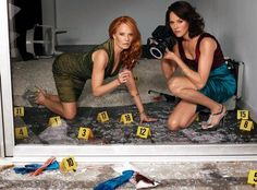 "JORJA FOX (with her ""CSI"" co-star Marg Helgenberger)"