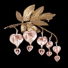 Bleeding Heart Pin by Michael Michaud; hand-patinaed bronze bleeding heart flowers and pink freshwater pearls.