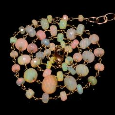 """40CRTS 3.5to7MM 19.5"""" ETHIOPIAN OPAL FACETED BEADS CHAIN NECKLACE OBI1952 #OPALBEADSINDIA"""