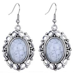 VINTAGE FAUX MARBLE SWIRL WHITE AND GRAY OVAL EARRINGS