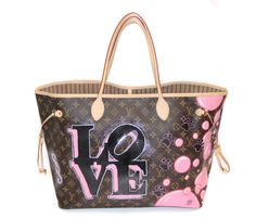 HAND PAINTED LOUIS VUITTON NEVERFULL BAG BY ROCKY MAZZILLI FOR YEAR ZERO LONDON