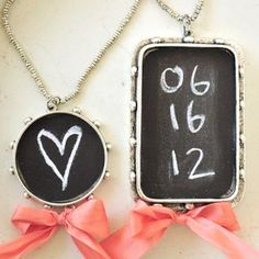 Chalkboard pendant...except I'm going to use chalkboard paint instead of paper so I can change the message