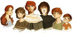 Sansa, Arya, Robb, Jon Snow, Bran, Rickon - starks by *spoonybards on deviantART #got #agot #asoiaf