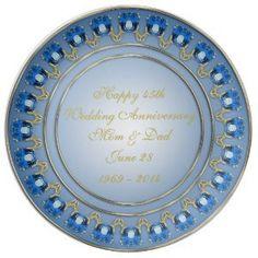 """45th Wedding Anniversary Porcelain Plate (<em data-recalc-dims=""""1"""">$50.95</em>)"""
