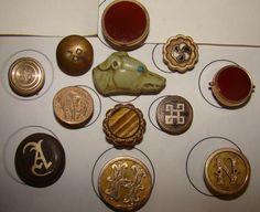 Lot of Antique edwardian stud Button or single Cufflink Greyhound dog enamel GF | eBay. Sold for $26,01