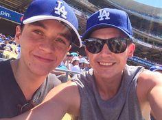 Aug 14: Aneurin Barnard & Fionn Whitehead at the Dodgers vs. Pirates baseball game in LA. @AneurinAndFionn.Twitter