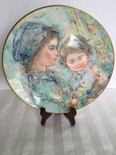 Royal Doulton Colette and Child Collectors Plate by Edna Hibel in Box 1973
