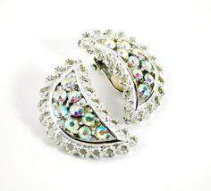 CIJ Sale- Vintage Earrings, Aurora Borealis Rhinestone Earrings, Crescent Moon Earrings, Silver Tone, EMMONS, 50s Jewelry, Christmas in July by AVintageJewelryChest, $27.00