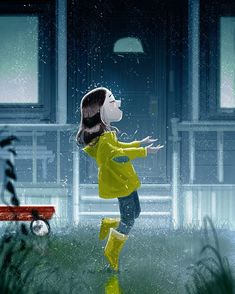 by Pascal Campion She who is learning the power of being cleansed, refreshed and delighted by what is natural. Art And Illustration, Illustrations, Pascal Campion, Walking In The Rain, Singing In The Rain, Norman Rockwell, I Love Rain, Girl In Rain, Rain Art