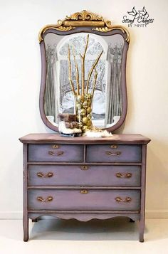 SOLD-custom finish available -- Antique Dresser with Mirror, Lavender and Gold, bedroom furniture, e Refurbished Furniture, Repurposed Furniture, Shabby Chic Furniture, Rustic Furniture, Furniture Makeover, Vintage Furniture, Home Furniture, Bedroom Furniture, Bamboo Furniture