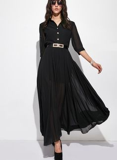 Chiffon Solid Short Sleeve Maxi Casual Dresses