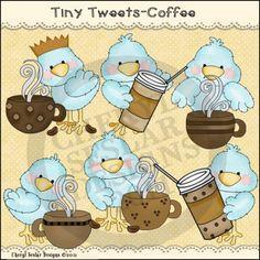 Tiny Tweets Coffee 1 - Clip Art by Cheryl Seslar